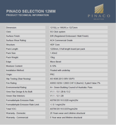 Pinaco Selection Technical Data Sheet