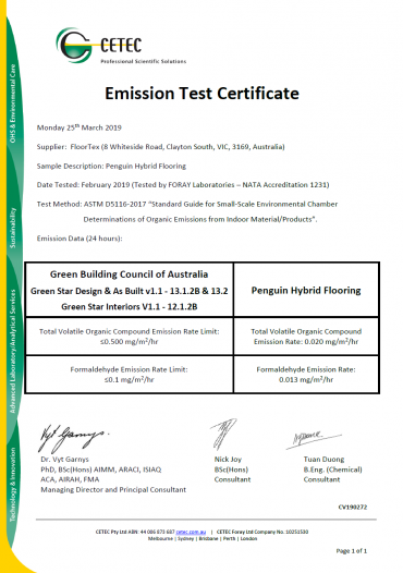 Penguin Hybrid Flooring Emission Test Certificate