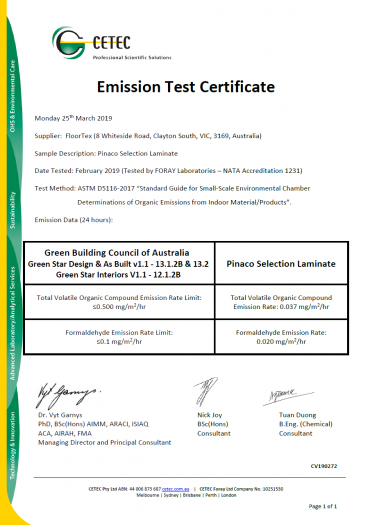 Pinaco Laminate Flooring Emission Test Certificate