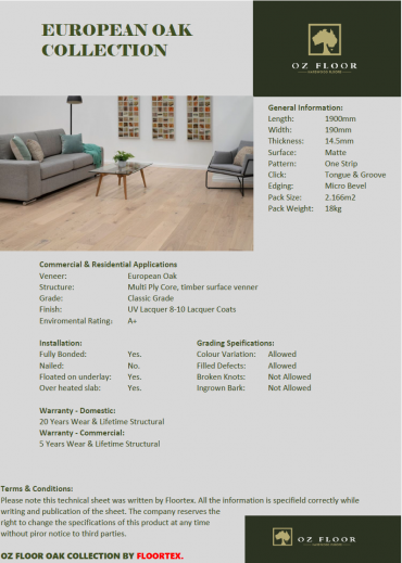 Oz Floor Oak Data Information