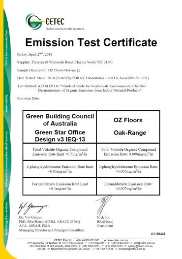 OzFloors Engineered Oak Emission Test