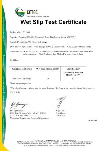 OzFloors Engineered Oak Wet slip test